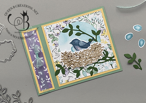 Stampin' Up! Birds and Branches horizontal book binding card by Lisa Ann Bernard of Queen B Creations
