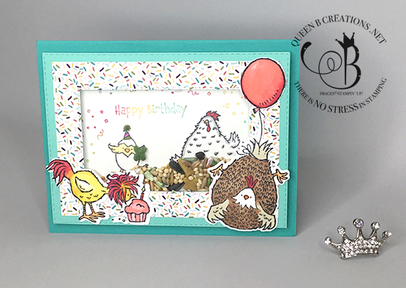 Stampin' Up! Birthday Chick shaker card with birdseed by Lisa Ann Bernard of Queen B Creations