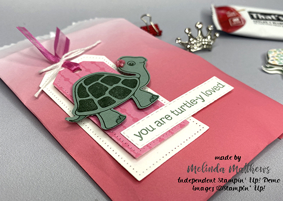 Stampin' Up! Turtle tags bag and post it note holder by Melinda Matthews for Queen B Creations