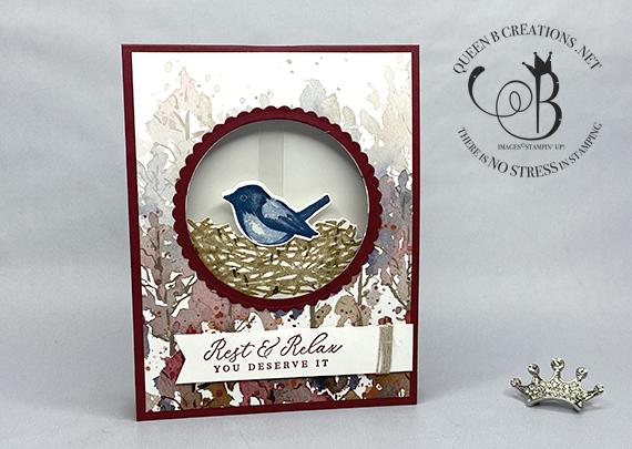 Stampin' Up! Birds and Branches handmade pendulum card by Lisa Ann Bernard of Queen B Creations