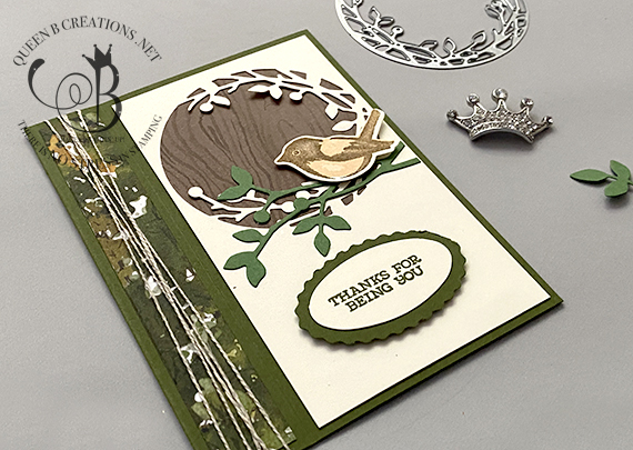 Stampin' Up! Birds and Branches vertical book binding card by Lisa Ann Bernard of Queen B Creations