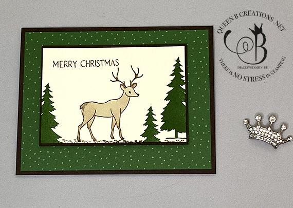 Stampin' Up! Peaceful Deer stamp set & Peaceful Prints Designer Series Paper simple Christmas card by Lisa Ann Bernard of Queen B Creations