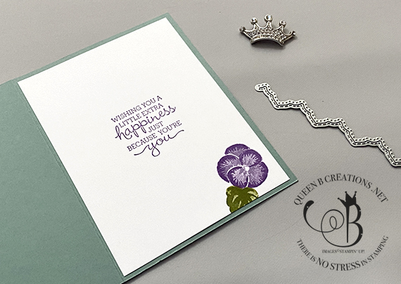 Stampin' Up! Pansy Patch Many Messages Basic Borders Dies card by Lisa Ann Bernard of Queen B Creations
