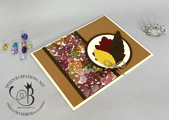 Stampin' Up! Stitched Leaves handmade card by Lisa Ann Bernard of Queen B Creations