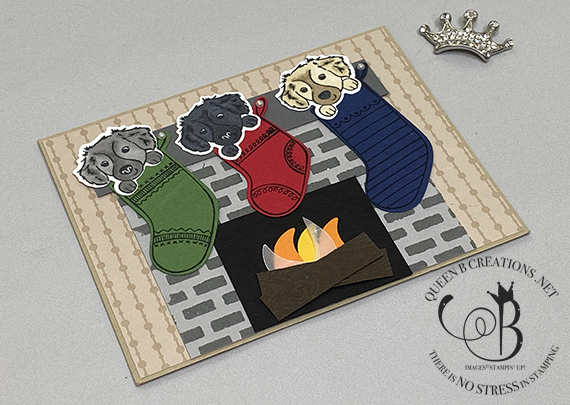 Stampin' Up! Sweet Stockings fireplace stockings card by Lisa Ann Bernard of Queen B Creations