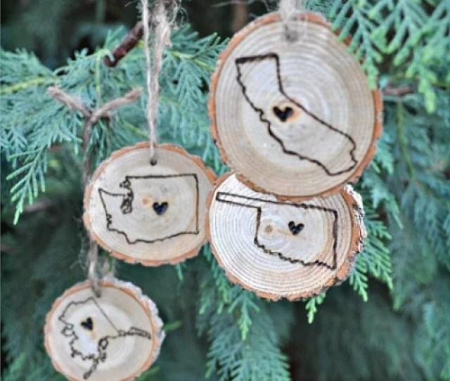 Wood Burned State Ornaments