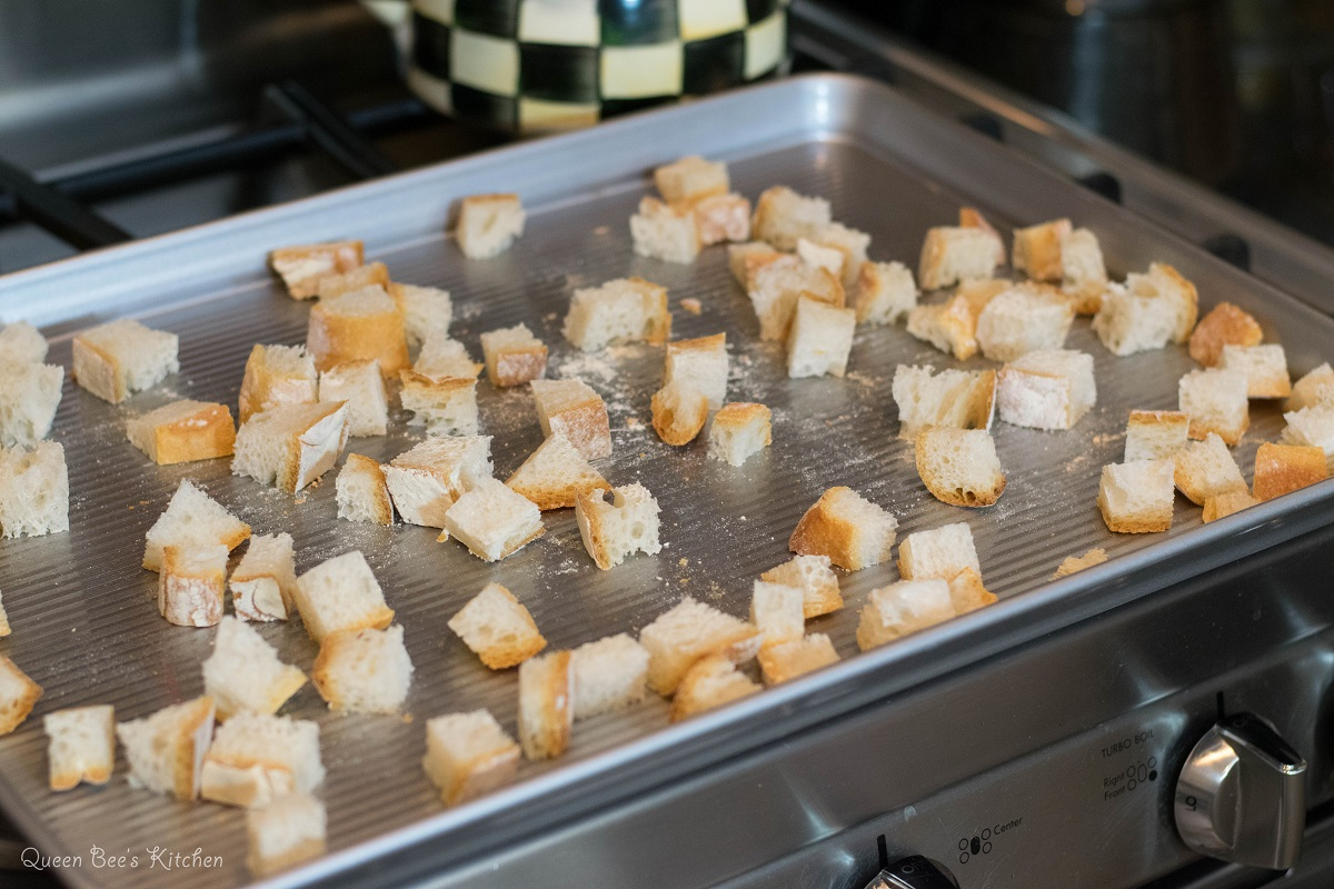 Cubed bread ready for the oven