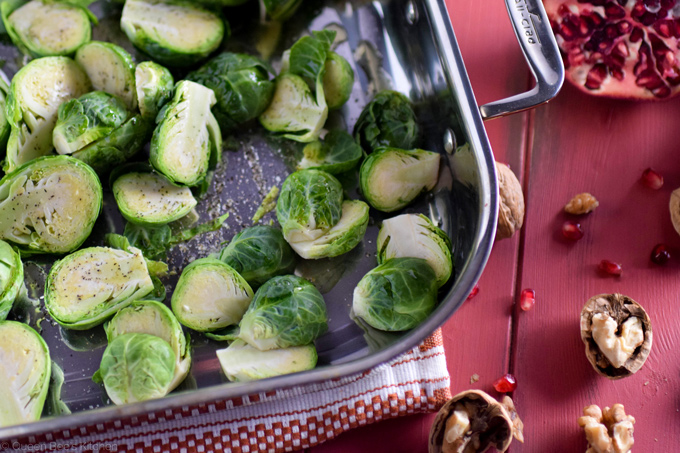 Sliced and seasoned Brussels sprouts