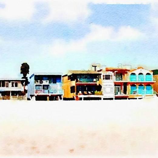 My neighborhood beachfront in water colour