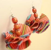 Small Orange striped earring
