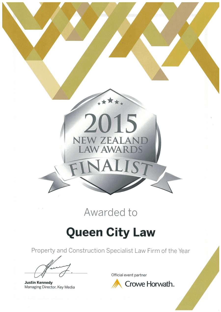 QCL Finalists for 2015 NZ Law Awards