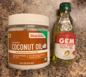 Extra Virgin Olive Oil and Extra Virgin Coconut Oil are great for pre-poos and the