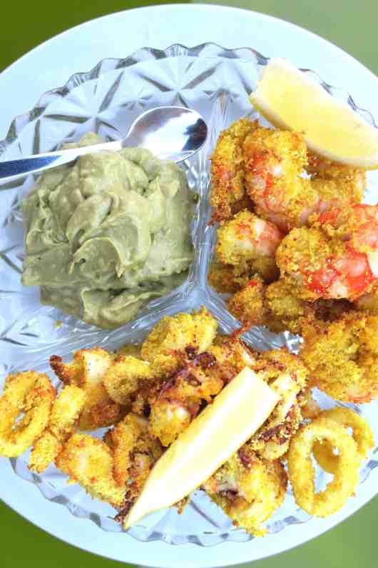 crispy baked calamari & prawns with avocado salsa