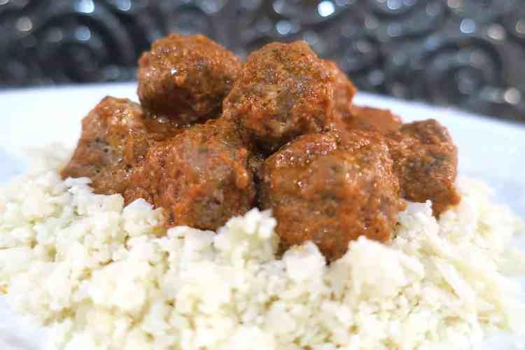 Low Carb Keto Italian Meatballs & Cauliflower Rice