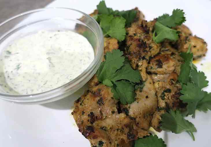 Keto Moroccan Chicken with Coriander Dip