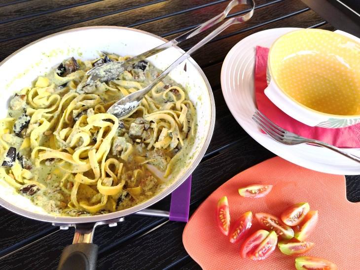 Keto Low Carb Aubergine & Burrata Fettuccine