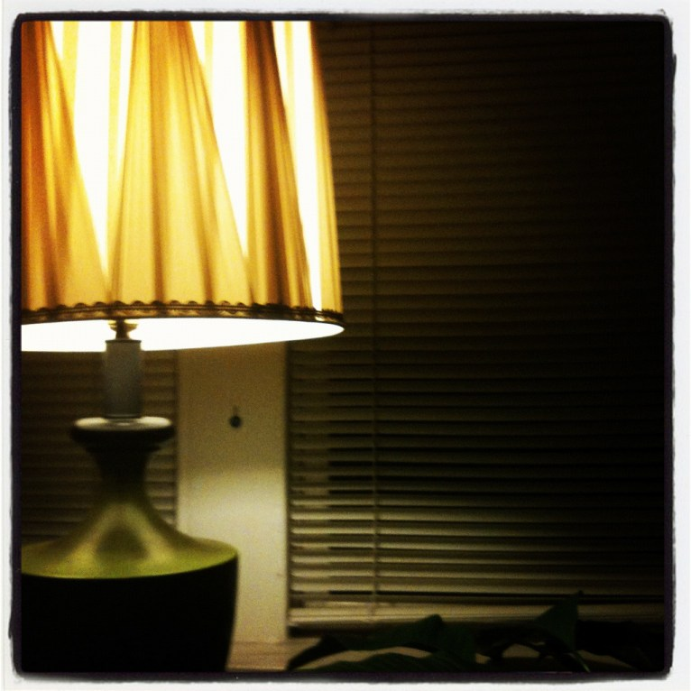 leland green lamp and blinds