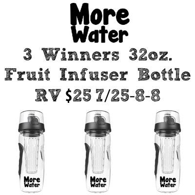 3 - Winners More Water Fruit Infuser Bottle Giveaway