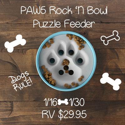 PAW5 Rock 'N Bowl Puzzle Feeder Giveaway