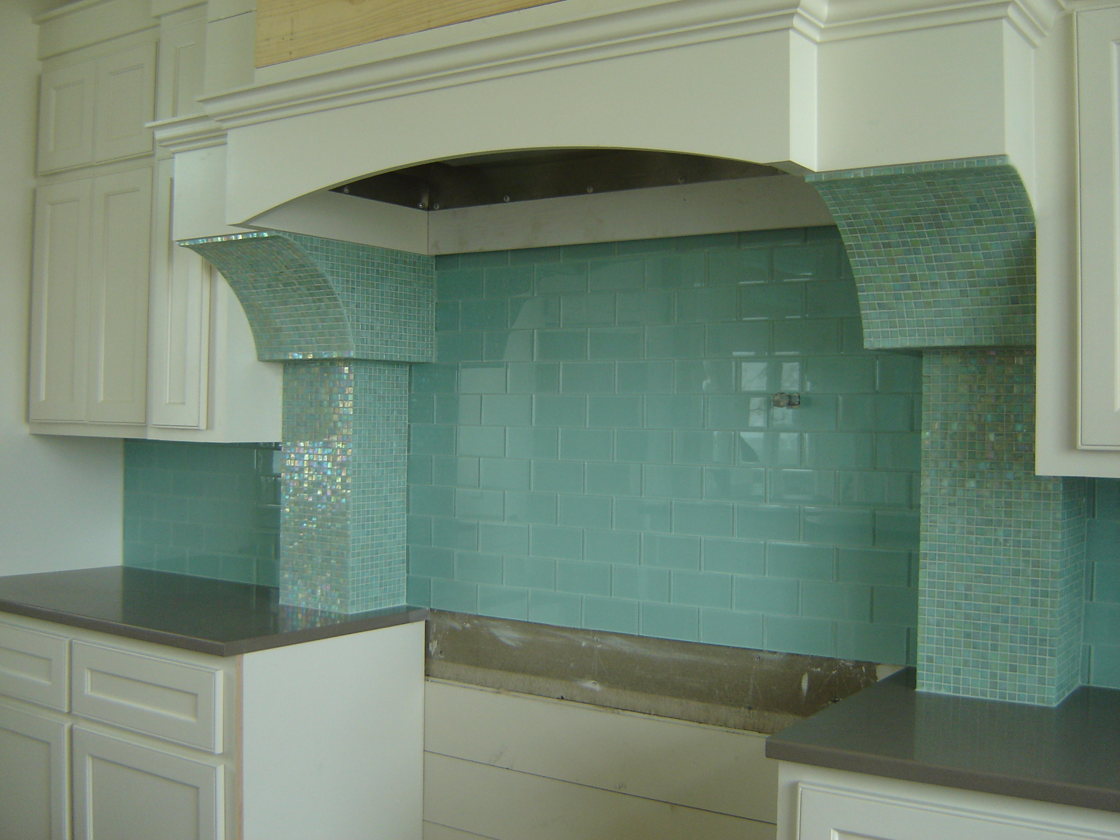 green kitchen backsplash island back panel granite and tile should be fun