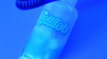 saltherapy toothtab chewable toothpaste tablets in cool blue lighting