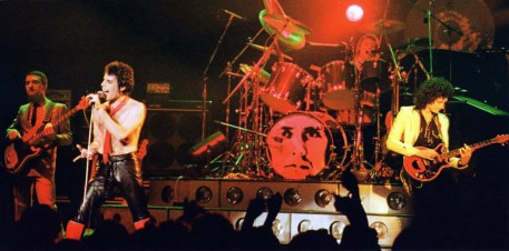 Queen live on stage during the 'Crazy Tour' on the second of two nights at the Apollo Theatre in Manchester, England on 27th November 1979. Photo by Alan Perry (2)
