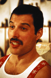 Freddie Mercury during a press conference in Australia, 1985