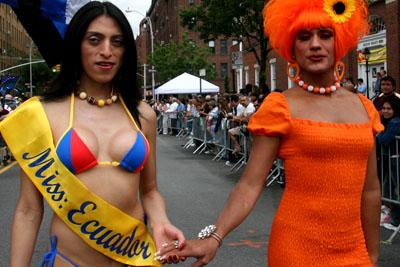 Paraje homosexual en desfiel de Queens.  Foto Javier Castaño