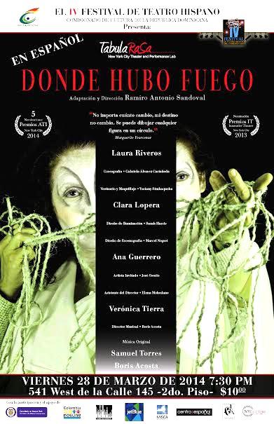 Cartel de promoción de la obra Donde hubo fuego del director Ramiro Sandoval.