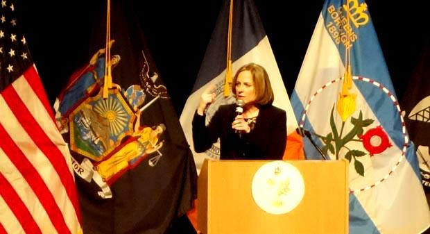 La presidenta de Queens, Melinda Katz, en el Auditorio Colden del Queens Colleges el jueves de esta semana.