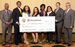 2013 FSCNY/MoneyGram International Scholarship recipients with Juan Melendez of MoneyGram (L) and Sanford Herman, Chairman of the scholarship program (R).