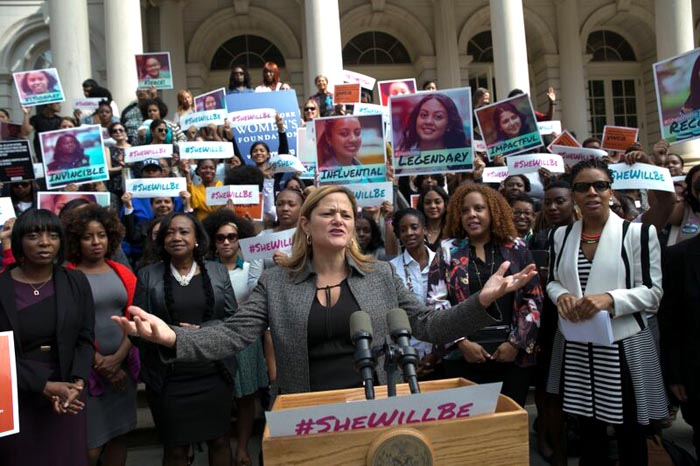 Melissa Mark-Viverito during a press conference in City Hall. Photo courtesy