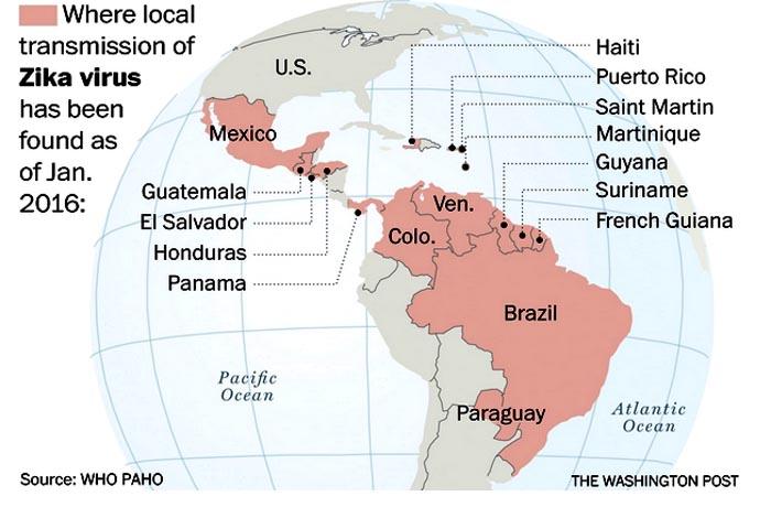 Los países de este continente afectados por el virus del Zica.