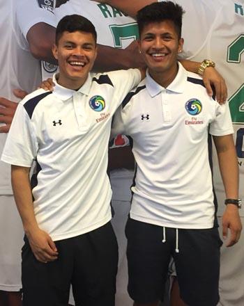 Los jugadores del Cosmos sub-19, Alexis Varela y Eric Calvillo.