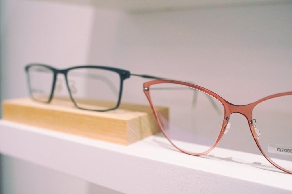 Pink glasses on a shelf