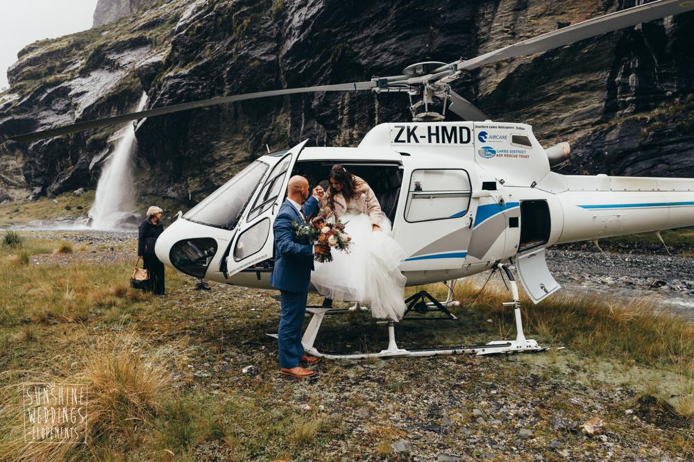 Helicopter at New Zealand destination wedding