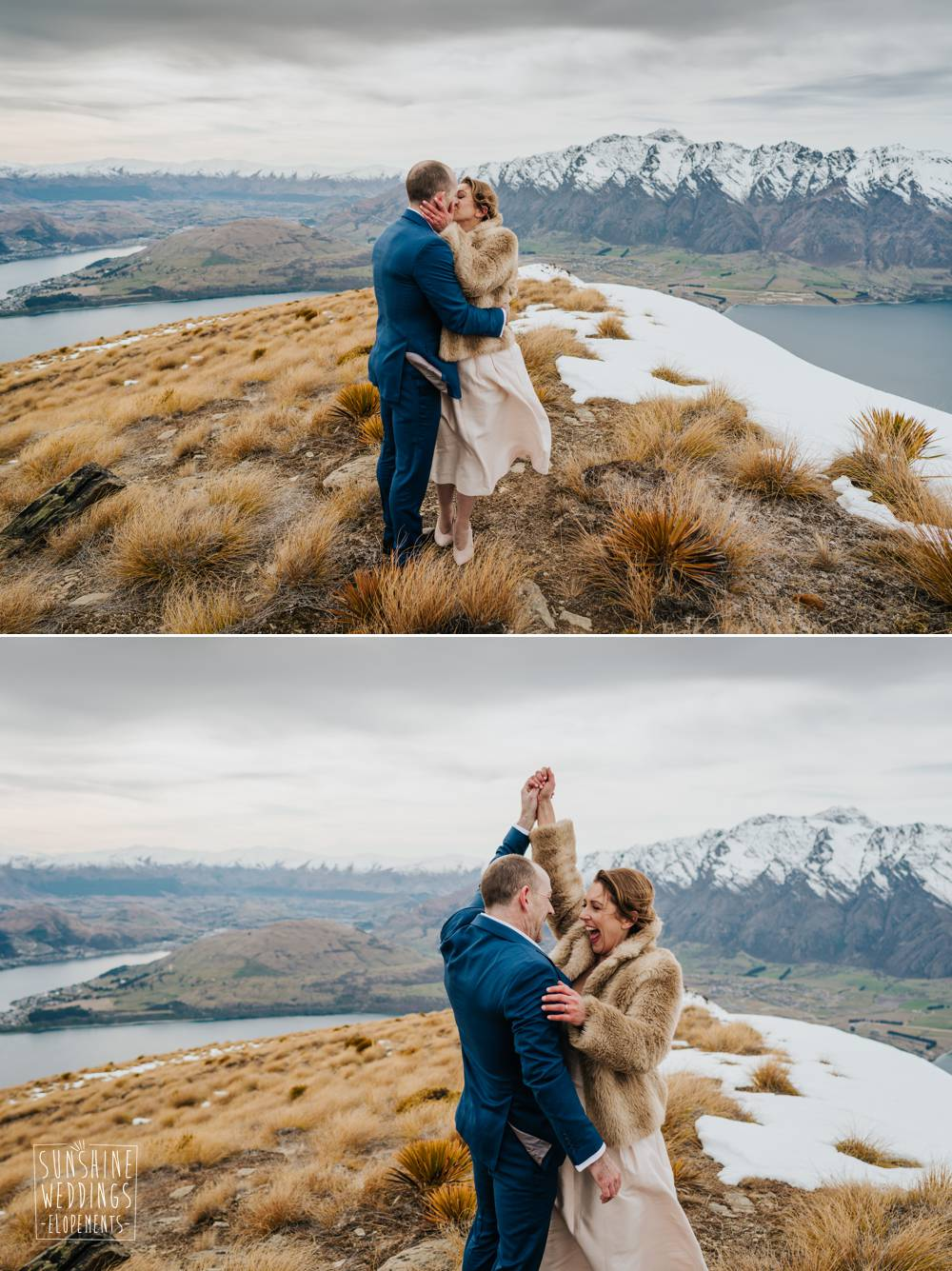 Elopement wedding celebration, NZ mountain wedding