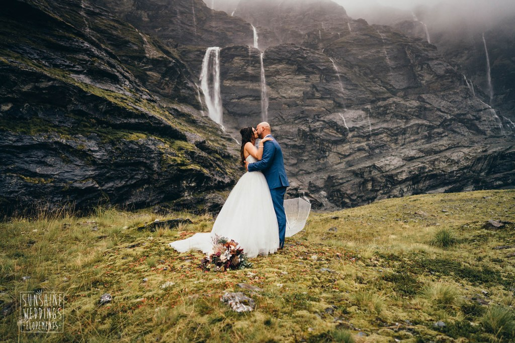 Earnslaw burn wedding in Fiordland national park