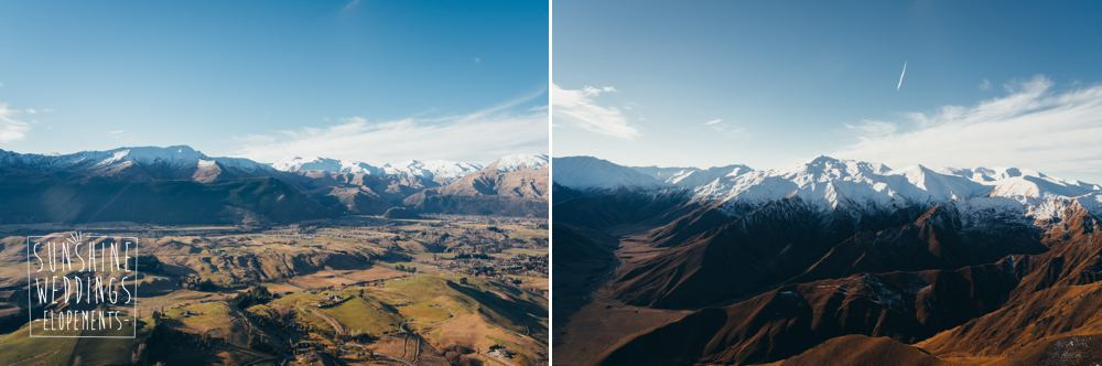 View from helicopter for a Lake Wanaka wedding