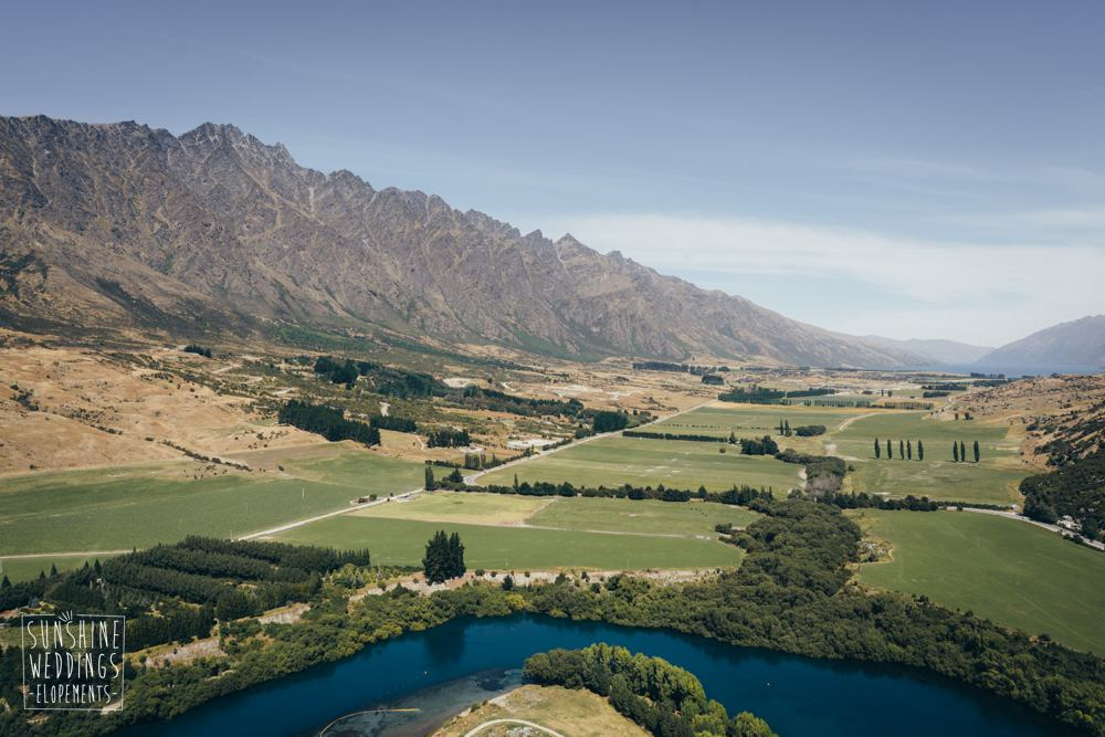 View over Queenstown on a heli wedding