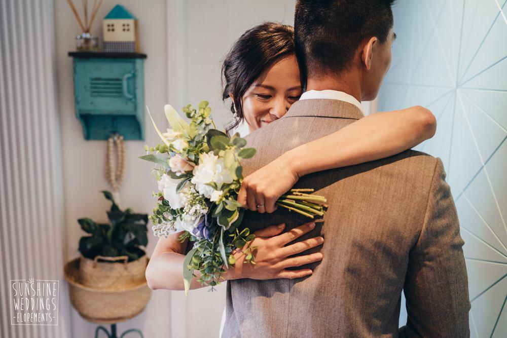 bride and groom before wedding ceremony elopement wedding