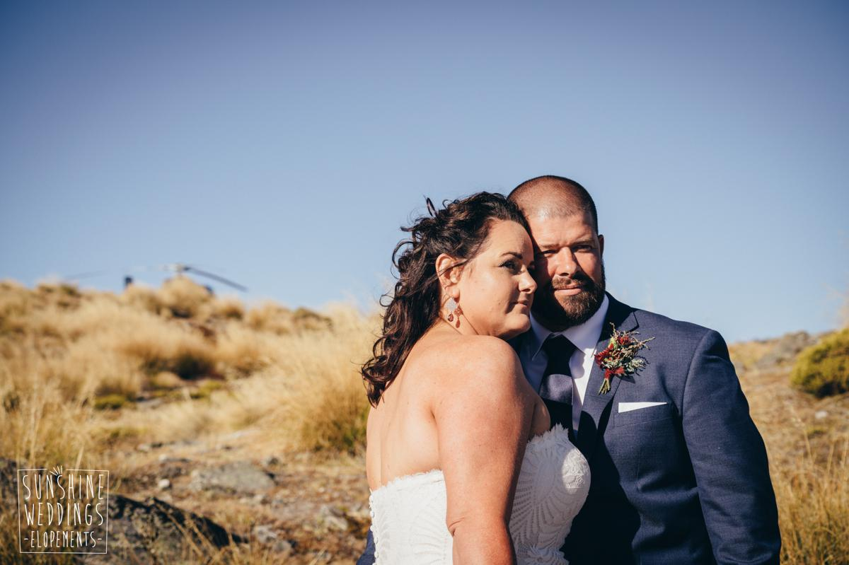 wedding couple on mountain in NZ