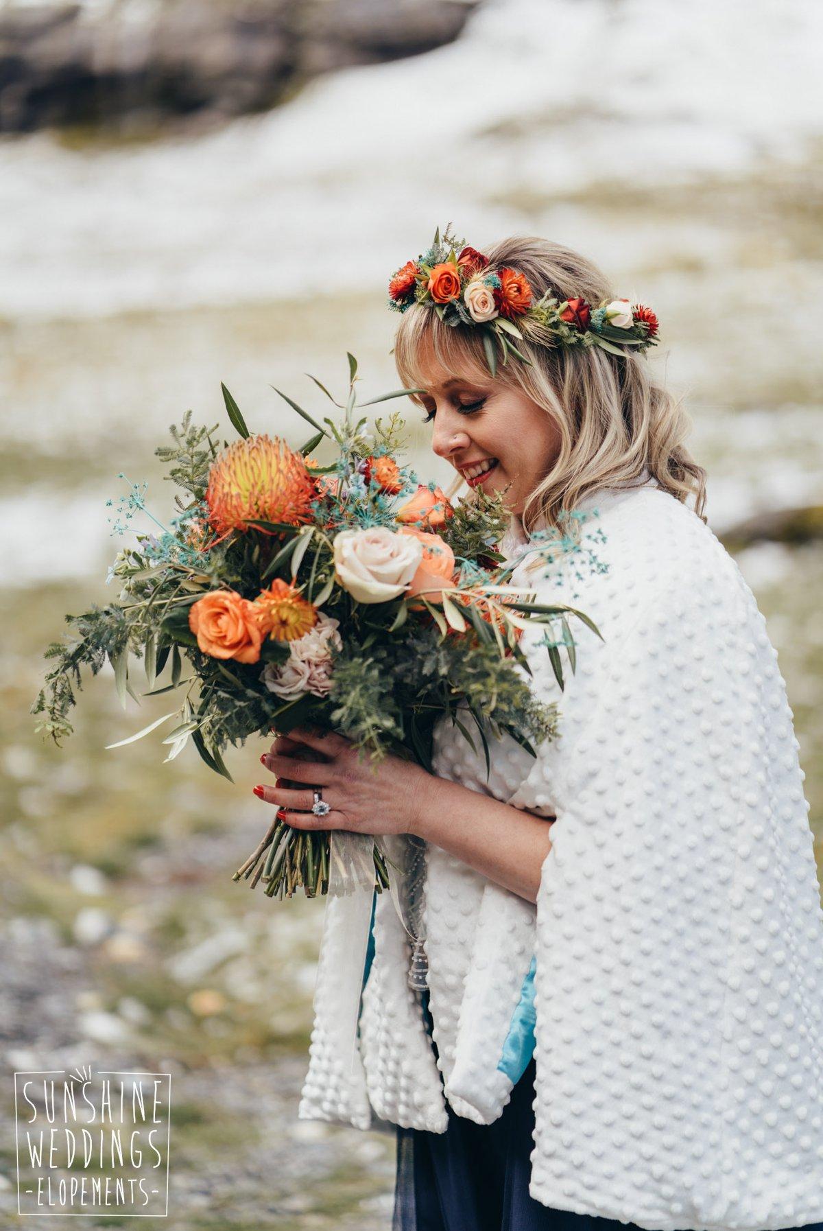 bridal bouquet crimson wedding flowers