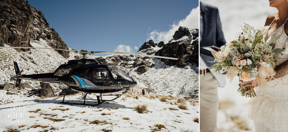helicopter mountain wedding nz