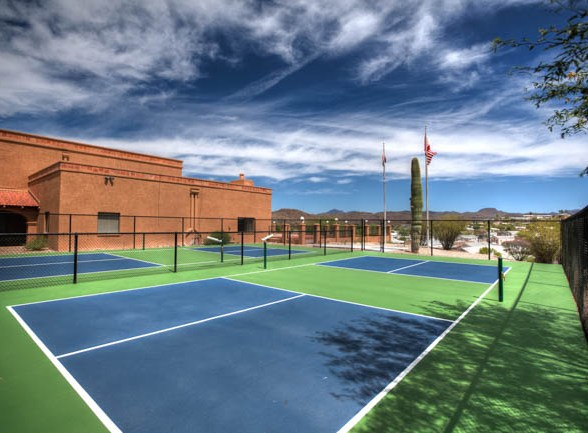 Pickle Ball and the Clubhouse Queen Valley RV Resort