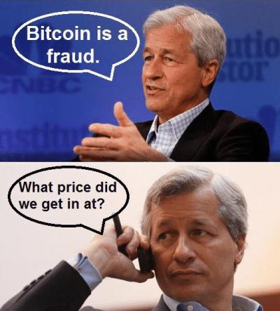 Jamie dimon meme bitcoin fraud invest blockchain