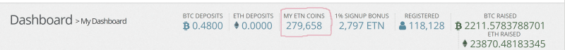 My Total Electroneums (ETNs)
