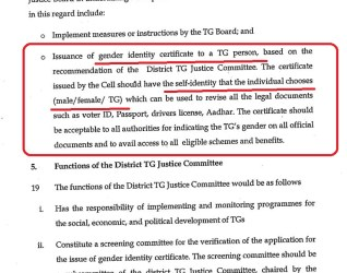 Regarding issuance of Gender Identity Certificate for Transgender People.