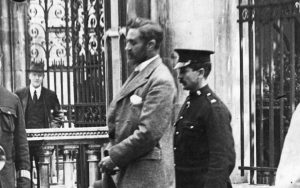 Secrets Of The Black Diaries...Picture Shows: Image order No HK6737 Irish Patriot and British Consular Official Sir Roger Casement (1864 - 1916) is escorted to the gallows of Pentonville Prison, London. TX: BBC FOUR Friday, March 15 2002 Getty Images/Hulton Archives Roger Casement, former British Consul to the Congo, was hanged for treason for his role in Ireland's 1916 Easter Rising. His conviction rested on a set of diaries that suggested he had pursued a highly promiscuous homosexual life. Under the social mores of the day, such a revelation deprived him of all hope of clemency. But were the diaries faked? BBC Four investigates the 85-year-old mystery. WARNING: This Getty Image copyright image may be used only to publicise 'Secrets Of The Black Diaries'. Any other use whatsoever without specific prior approval from 'Getty Images' may result in legal action.