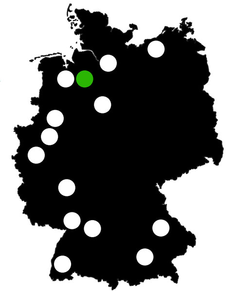 QueerScope, Deutschlandkarte mit Bremen hervorgehoben.